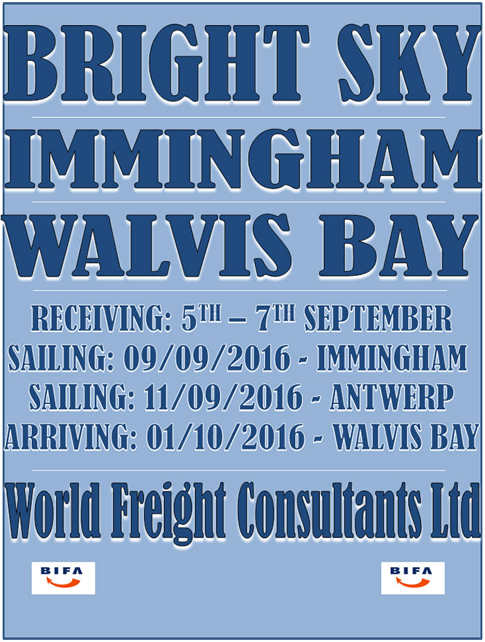 Bright Sky - Immingham to Walvis Bay
