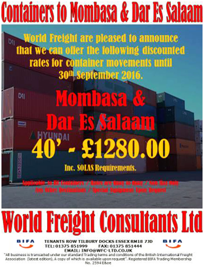 Containers to Mombasa and Dar Es Salaam