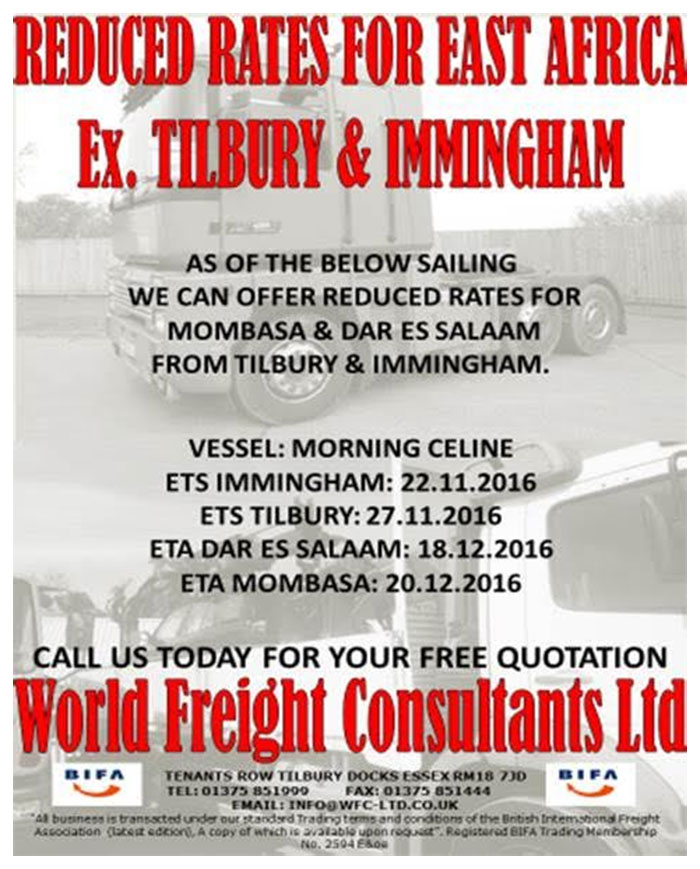 Reduced Rates for East Africa Ex Tilbury & Immingham