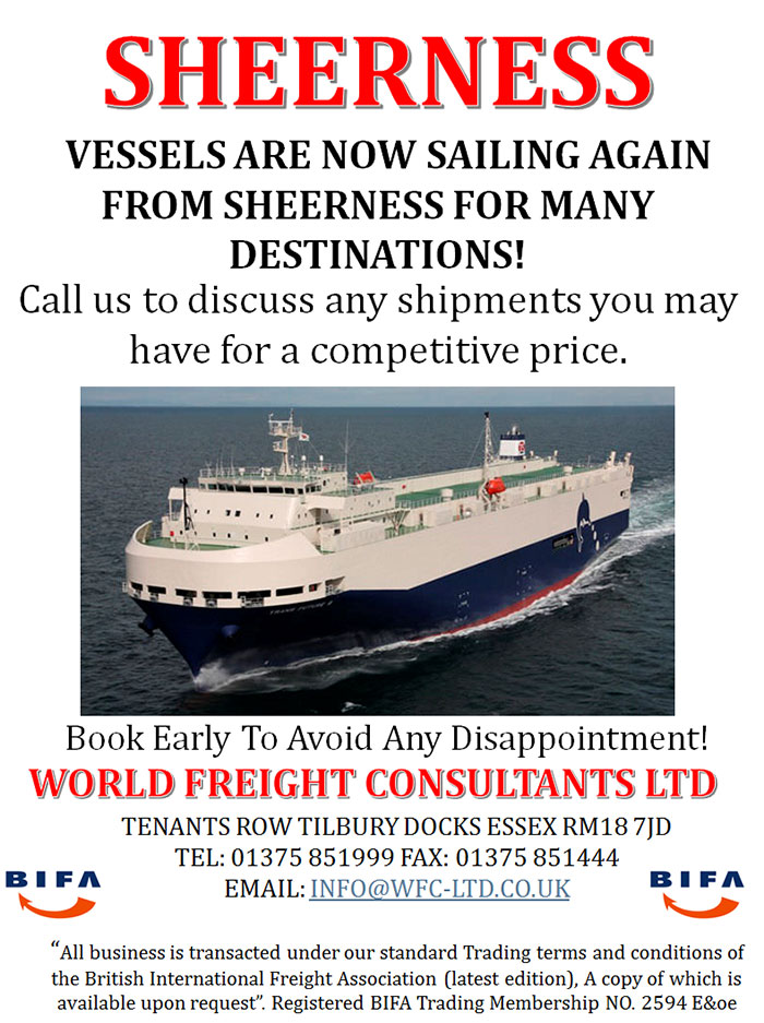 Vessels are now sailing again from Sheerness for many destinations