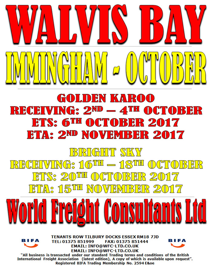 Walvis Bay - Immingham October