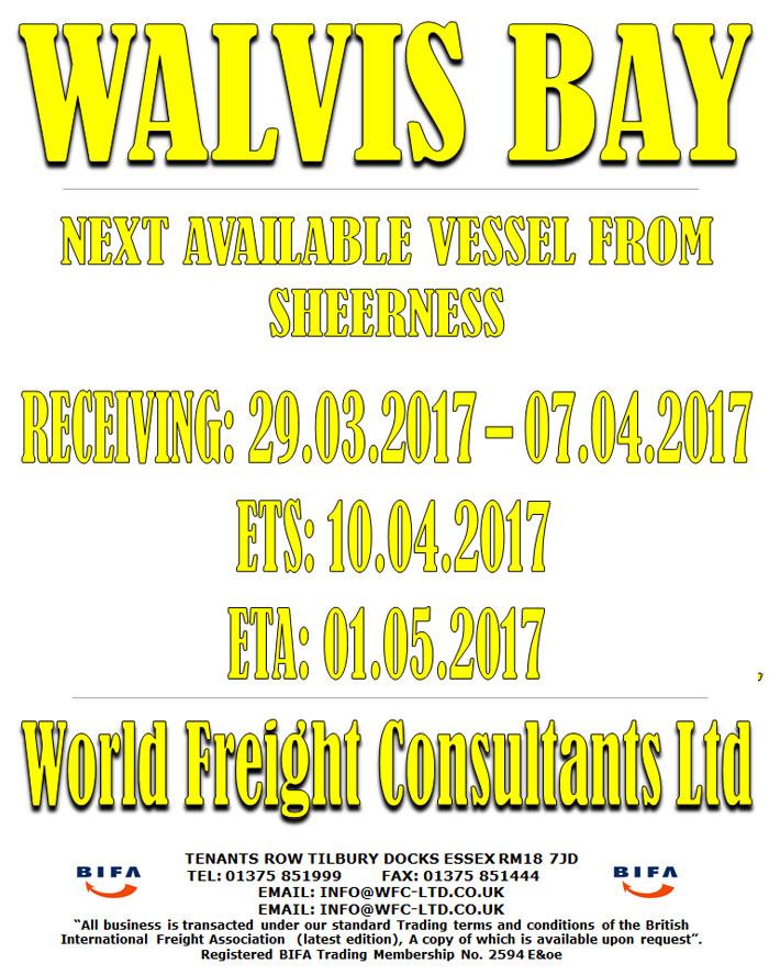 Walvis Bay - Sailing from Sheerness
