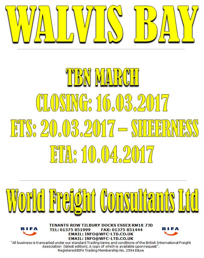 Sheerness to Walvis Bay
