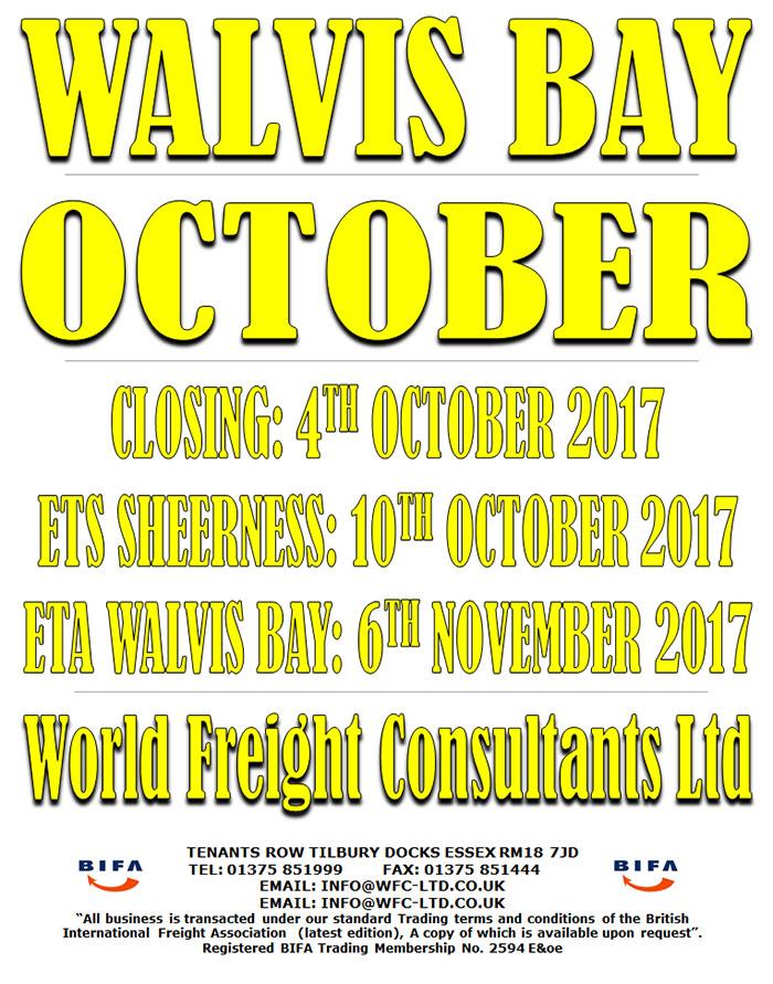 Walvis Bay - Sheerness October
