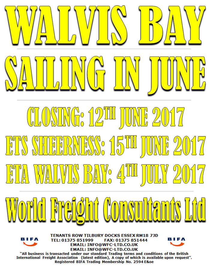 Walvis Bay - Sailing from Sheerness
