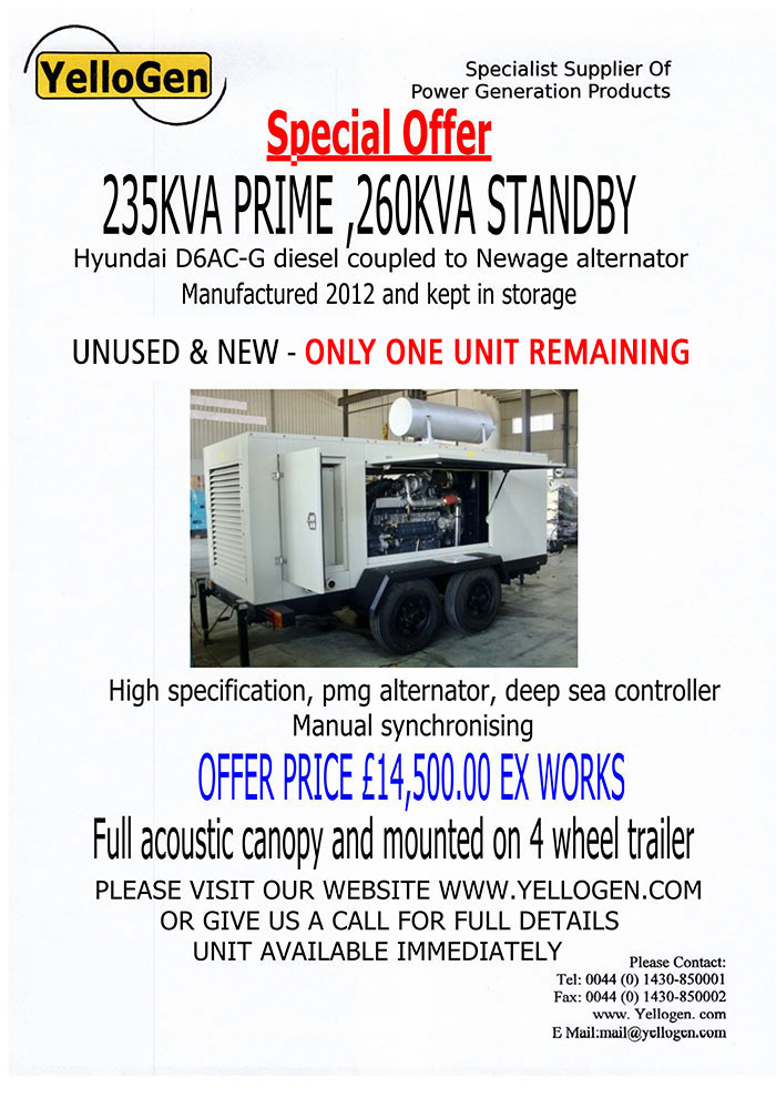 235KVA Prime, 260KVA Standby Hyundai D6AC-G Diesel
