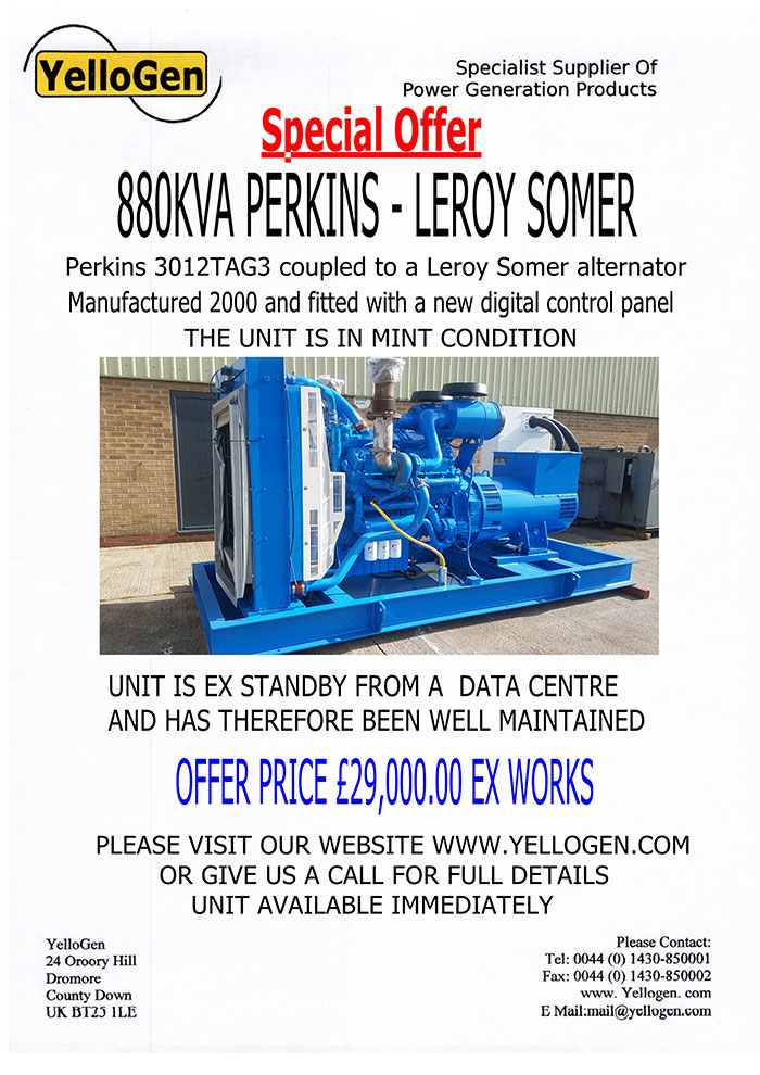 Special Offer: 880KVA Perkins - Leroy Somer